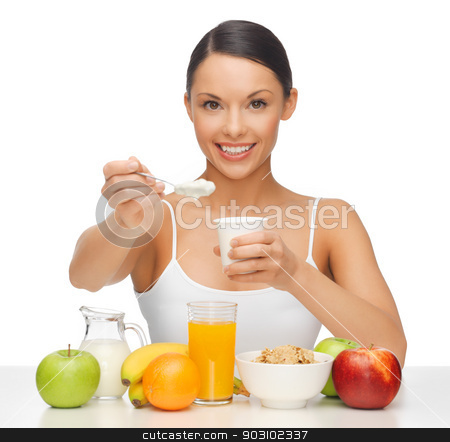 woman with fruits and yogurt stock photo, picture of beautiful woman with fruits and yogurt by Syda Productions