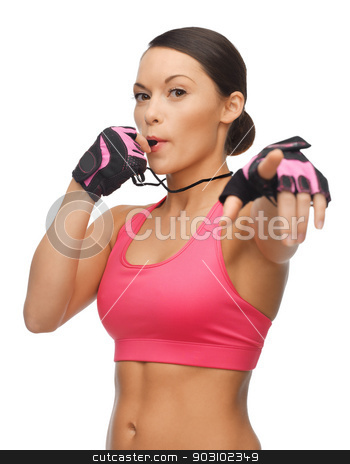 woman with whistle stock photo, picture of beautiful sporty woman with whistle by Syda Productions