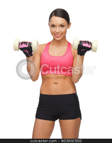woman with dumbbells stock photo, picture of beautiful sporty woman with dumbbells by Syda Productions