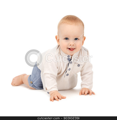 crawling baby boy stock photo, bright closeup picture of crawling baby boy. by Syda Productions