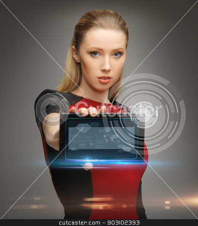 futuristic woman with tablet pc stock photo, bright picture of futuristic woman with tablet pc by Syda Productions
