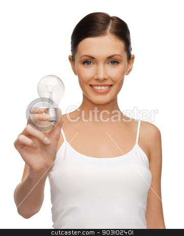 woman with energy saving bulb stock photo, picture of beautiful woman with energy saving bulb by Syda Productions