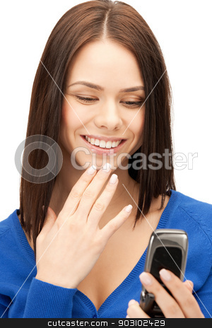 woman with cell phone stock photo, bright picture of woman with cell phone by Syda Productions