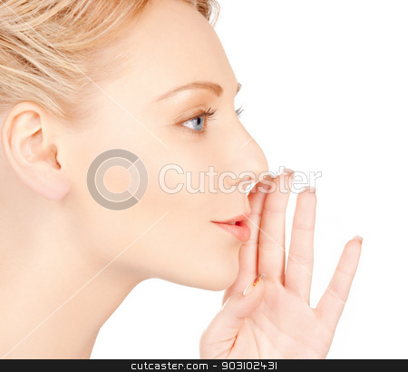 woman whispering gossip stock photo, bright picture of woman whispering gossip by Syda Productions