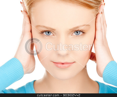 unhappy woman stock photo, unhappy woman holding her head with hands. by Syda Productions