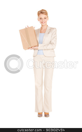 woman with cardboard box stock photo, picture of happy woman with cardboard box by Syda Productions