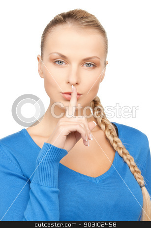 picture of woman with finger on lips stock photo, bright picture of woman with finger on lips by Syda Productions