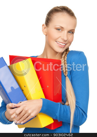 happy woman with folders stock photo, bright picture of happy woman with folders by Syda Productions