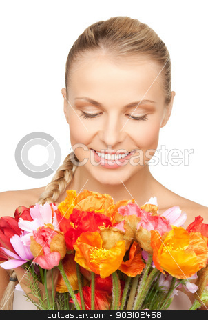 woman with red flowers stock photo, picture of lovely woman with red flowers.. by Syda Productions