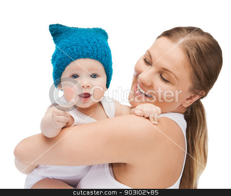 happy mother with adorable baby stock photo, picture of happy mother with adorable baby. by Syda Productions