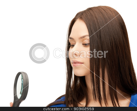 woman with magnifying glass stock photo, picture of beautiful woman with magnifying glass... by Syda Productions