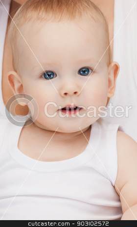 adorable baby boy stock photo, bright closeup picture of adorable baby boy. by Syda Productions