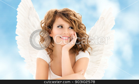 angel girl stock photo, picture of happy teenage angel girl over white by Syda Productions