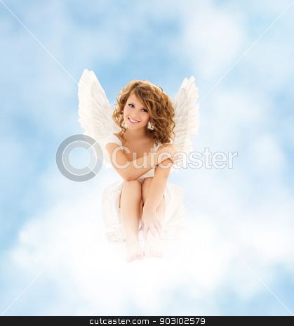 angel girl stock photo, picture of happy teenage angel girl by Syda Productions