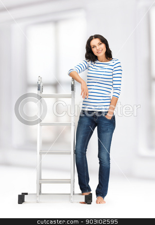 beautiful woman with ladder stock photo, bright picture of beautiful woman with ladder by Syda Productions