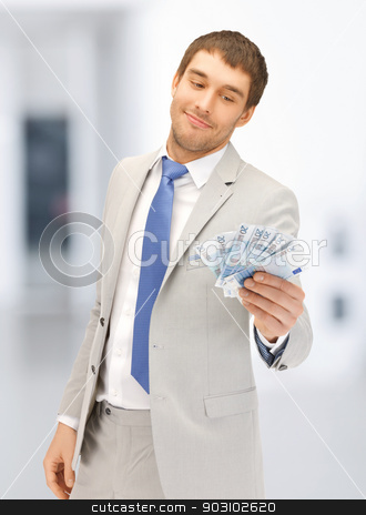 man with euro cash money stock photo, picture of handsome man with euro cash money by Syda Productions