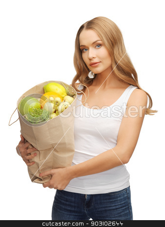 woman with shopping bag full of fruits stock photo, picture of woman with shopping bag full of fruits by Syda Productions