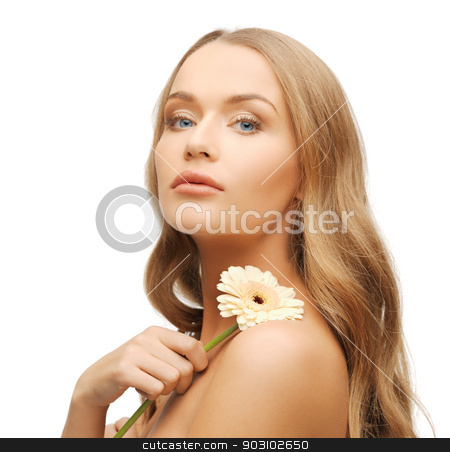 lovely woman with gerbera flower stock photo, bright picture of lovely woman with gerbera flower. by Syda Productions