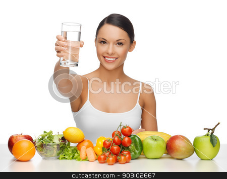 woman with healthy food stock photo, beautiful woman with healthy food and water by Syda Productions