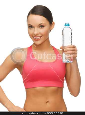woman with bottle of water stock photo, picture of sporty woman with bottle of water by Syda Productions