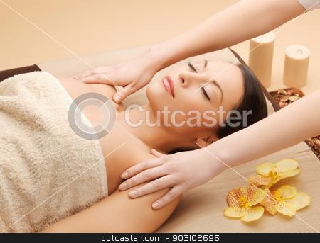 beautiful woman in massage salon stock photo, picture of calm beautiful woman in massage salon by Syda Productions