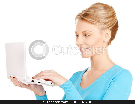 woman with laptop computer stock photo, bright picture of woman with laptop computer by Syda Productions