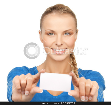 attractive businesswoman with business card stock photo, picture of attractive businesswoman with business card by Syda Productions