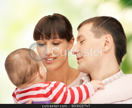 happy mother and father with adorable baby stock photo, picture of happy mother and father with adorable baby (focus on man) by Syda Productions