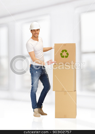 handsome man with big boxes stock photo, picture of handsome man with big boxes. by Syda Productions