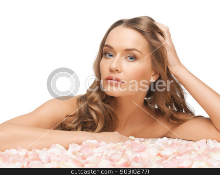 beautiful woman with rose petals stock photo, picture of beautiful woman with rose petals.. by Syda Productions