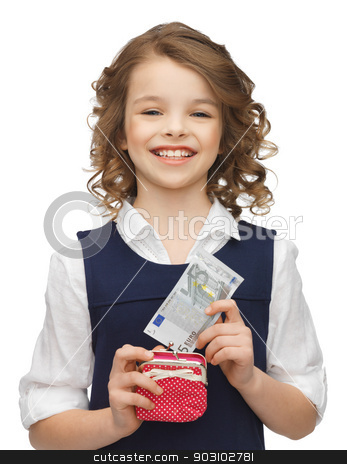 girl with purse and paper money stock photo, picture of beautiful girl with purse and paper money by Syda Productions