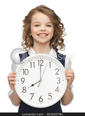 girl with big clock stock photo, picture of beautiful girl with big clock by Syda Productions