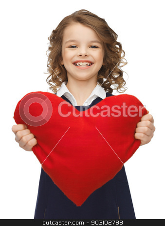 girl with big heart stock photo, picture of beautiful girl with big heart by Syda Productions