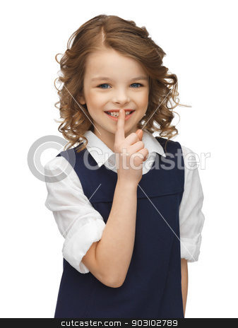 pre-teen girl showing hush gesture stock photo, picture of beautiful pre-teen girl showing hush gesture by Syda Productions