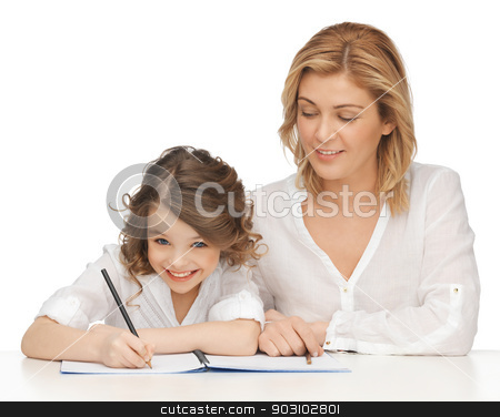 mother and daughter stock photo, picture of mother and daughter doing home work by Syda Productions