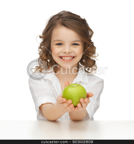 girl with green apple stock photo, picture of beautiful girl with green apple by Syda Productions