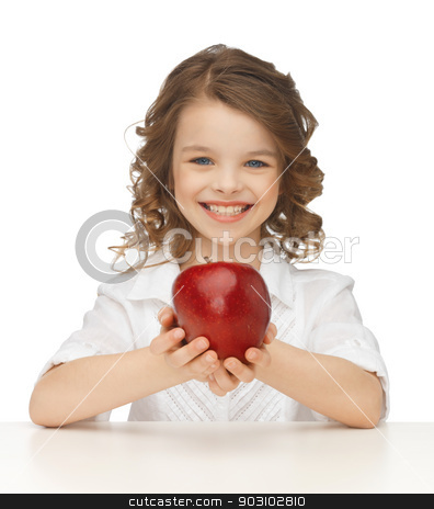 girl with red apple stock photo, picture of beautiful girl with red apple by Syda Productions