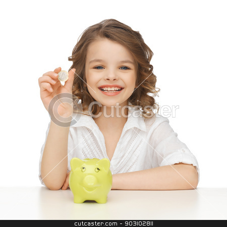 girl with piggy bank stock photo, picture of beautiful girl with piggy bank by Syda Productions