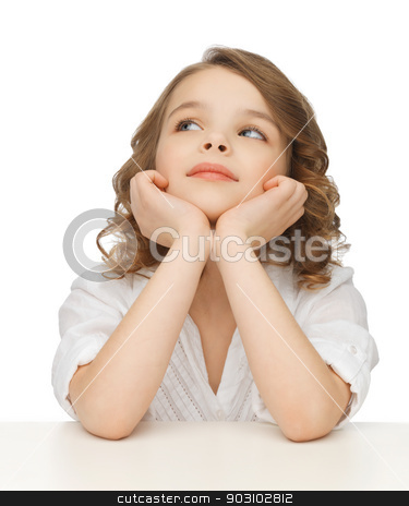 pre-teen girl in casual clothes stock photo, picture of thinking pre-teen girl in casual clothes by Syda Productions