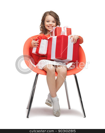 girl with gift boxes stock photo, picture of beautiful girl with gift boxes by Syda Productions