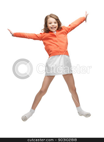 jumping girl in casual clothes stock photo, picture of beautiful jumping girl in casual clothes by Syda Productions