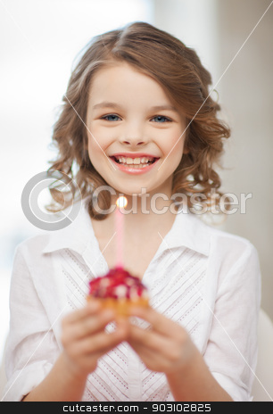 girl with cupcake stock photo, picture of beautiful pre-teen girl with cupcake by Syda Productions