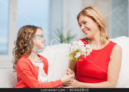mother and daughter stock photo, picture of mother and daughter with flowers by Syda Productions