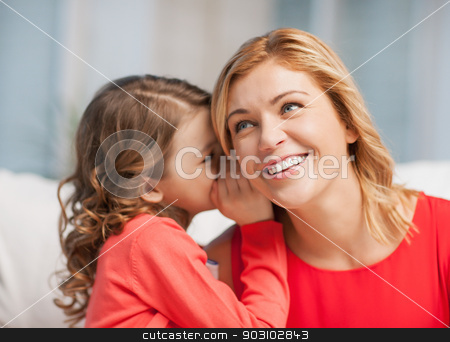 mother and daughter stock photo, picture of mother and daughter whispering gossip by Syda Productions