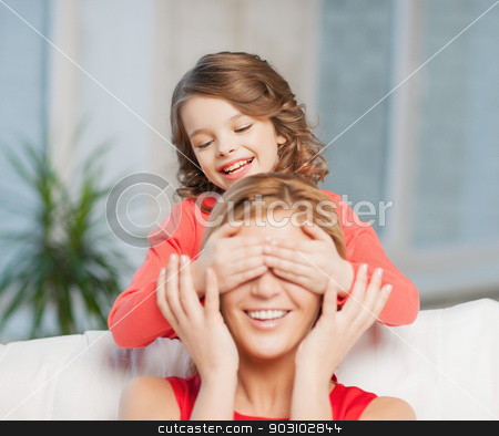 mother and daughter stock photo, picture of mother and daughter making a joke by Syda Productions