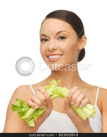woman with fresh celery stock photo, picture of beautiful woman with fresh celery by Syda Productions