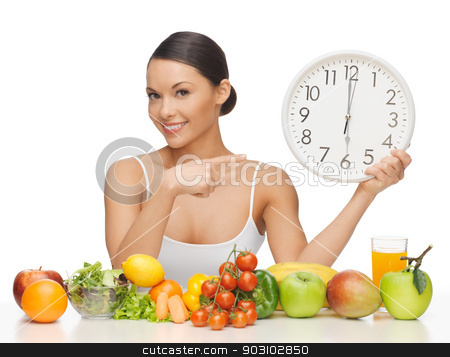 woman with big clock stock photo, picture of beautiful woman with big clock by Syda Productions