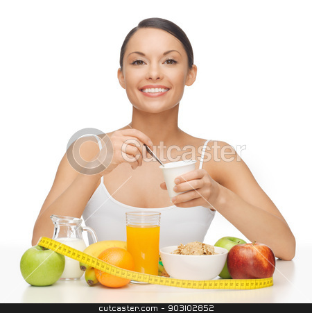 woman with yogurt stock photo, bright picture of beautiful woman with yogurt by Syda Productions
