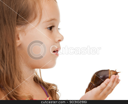 litle girl with snail stock photo, bright picture of beautiful litle girl with snail by Syda Productions
