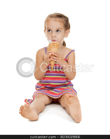 litle girl with ice cream stock photo, bright picture of beautiful litle girl with ice cream by Syda Productions